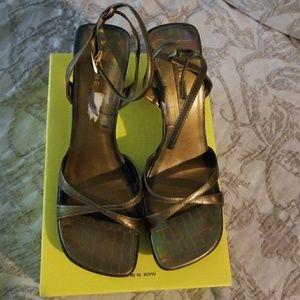 9 West Bronze Croc-Look Strappy Heels 10